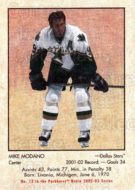 2002-03 Parkhurst Retro #12 Mike Modano<br/>5 In Stock - $1.00 each - <a href=https://centericecollectibles.foxycart.com/cart?name=2002-03%20Parkhurst%20Retro%20%2312%20Mike%20Modano...&quantity_max=5&price=$1.00&code=105584 class=foxycart> Buy it now! </a>