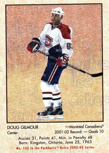 2002-03 Parkhurst Retro #122 Doug Gilmour<br/>2 In Stock - $1.00 each - <a href=https://centericecollectibles.foxycart.com/cart?name=2002-03%20Parkhurst%20Retro%20%23122%20Doug%20Gilmour...&quantity_max=2&price=$1.00&code=105587 class=foxycart> Buy it now! </a>