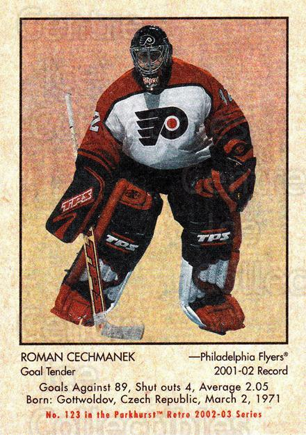 2002-03 Parkhurst Retro #123 Roman Cechmanek<br/>4 In Stock - $1.00 each - <a href=https://centericecollectibles.foxycart.com/cart?name=2002-03%20Parkhurst%20Retro%20%23123%20Roman%20Cechmanek...&quantity_max=4&price=$1.00&code=105588 class=foxycart> Buy it now! </a>