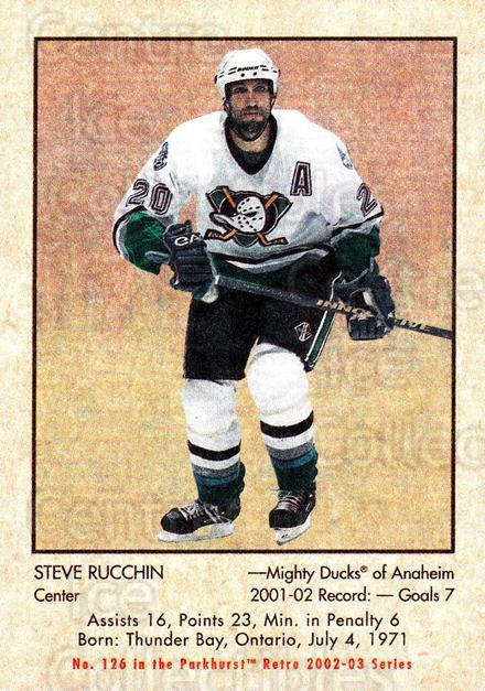 2002-03 Parkhurst Retro #126 Steve Rucchin<br/>5 In Stock - $1.00 each - <a href=https://centericecollectibles.foxycart.com/cart?name=2002-03%20Parkhurst%20Retro%20%23126%20Steve%20Rucchin...&quantity_max=5&price=$1.00&code=105590 class=foxycart> Buy it now! </a>