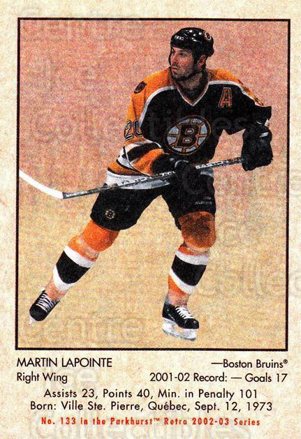 2002-03 Parkhurst Retro #133 Martin Lapointe<br/>5 In Stock - $1.00 each - <a href=https://centericecollectibles.foxycart.com/cart?name=2002-03%20Parkhurst%20Retro%20%23133%20Martin%20Lapointe...&quantity_max=5&price=$1.00&code=105598 class=foxycart> Buy it now! </a>
