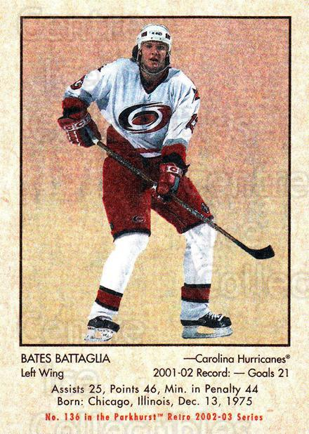 2002-03 Parkhurst Retro #136 Bates Battaglia<br/>4 In Stock - $1.00 each - <a href=https://centericecollectibles.foxycart.com/cart?name=2002-03%20Parkhurst%20Retro%20%23136%20Bates%20Battaglia...&quantity_max=4&price=$1.00&code=105601 class=foxycart> Buy it now! </a>