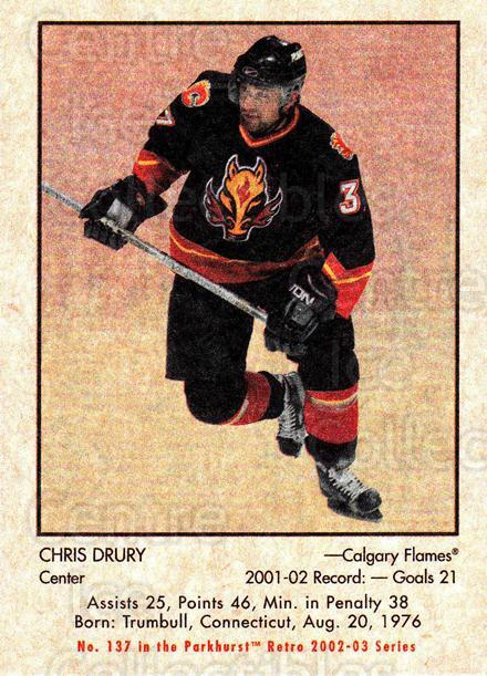 2002-03 Parkhurst Retro #137 Chris Drury<br/>6 In Stock - $1.00 each - <a href=https://centericecollectibles.foxycart.com/cart?name=2002-03%20Parkhurst%20Retro%20%23137%20Chris%20Drury...&quantity_max=6&price=$1.00&code=105602 class=foxycart> Buy it now! </a>