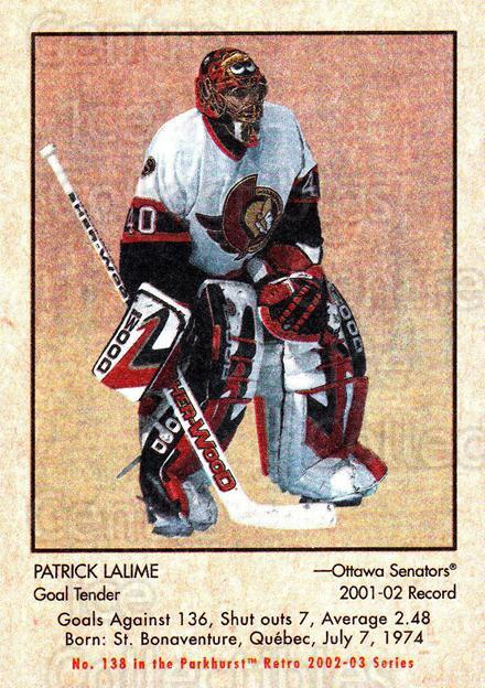 2002-03 Parkhurst Retro #138 Patrick Lalime<br/>3 In Stock - $1.00 each - <a href=https://centericecollectibles.foxycart.com/cart?name=2002-03%20Parkhurst%20Retro%20%23138%20Patrick%20Lalime...&quantity_max=3&price=$1.00&code=105603 class=foxycart> Buy it now! </a>