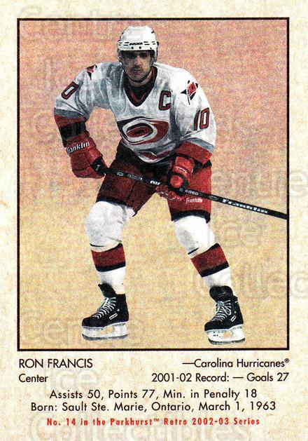 2002-03 Parkhurst Retro #14 Ron Francis<br/>5 In Stock - $1.00 each - <a href=https://centericecollectibles.foxycart.com/cart?name=2002-03%20Parkhurst%20Retro%20%2314%20Ron%20Francis...&quantity_max=5&price=$1.00&code=105605 class=foxycart> Buy it now! </a>