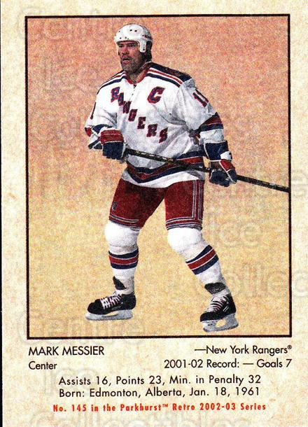 2002-03 Parkhurst Retro #145 Mark Messier<br/>4 In Stock - $1.00 each - <a href=https://centericecollectibles.foxycart.com/cart?name=2002-03%20Parkhurst%20Retro%20%23145%20Mark%20Messier...&quantity_max=4&price=$1.00&code=105611 class=foxycart> Buy it now! </a>