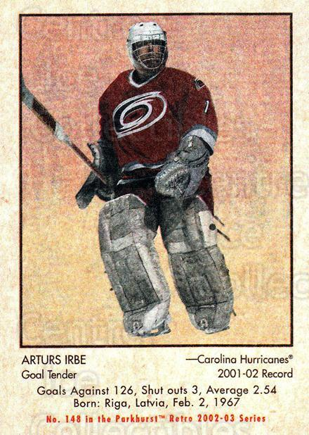 2002-03 Parkhurst Retro #148 Arturs Irbe<br/>1 In Stock - $1.00 each - <a href=https://centericecollectibles.foxycart.com/cart?name=2002-03%20Parkhurst%20Retro%20%23148%20Arturs%20Irbe...&quantity_max=1&price=$1.00&code=105614 class=foxycart> Buy it now! </a>