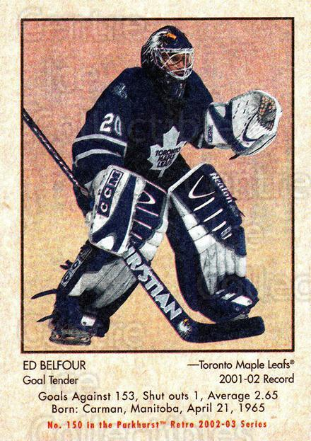 2002-03 Parkhurst Retro #150 Ed Belfour<br/>2 In Stock - $1.00 each - <a href=https://centericecollectibles.foxycart.com/cart?name=2002-03%20Parkhurst%20Retro%20%23150%20Ed%20Belfour...&quantity_max=2&price=$1.00&code=105617 class=foxycart> Buy it now! </a>