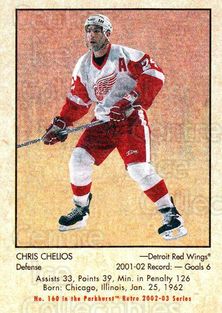 2002-03 Parkhurst Retro #160 Chris Chelios<br/>2 In Stock - $1.00 each - <a href=https://centericecollectibles.foxycart.com/cart?name=2002-03%20Parkhurst%20Retro%20%23160%20Chris%20Chelios...&quantity_max=2&price=$1.00&code=105627 class=foxycart> Buy it now! </a>