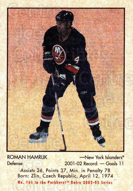 2002-03 Parkhurst Retro #161 Roman Hamrlik<br/>5 In Stock - $1.00 each - <a href=https://centericecollectibles.foxycart.com/cart?name=2002-03%20Parkhurst%20Retro%20%23161%20Roman%20Hamrlik...&quantity_max=5&price=$1.00&code=105628 class=foxycart> Buy it now! </a>