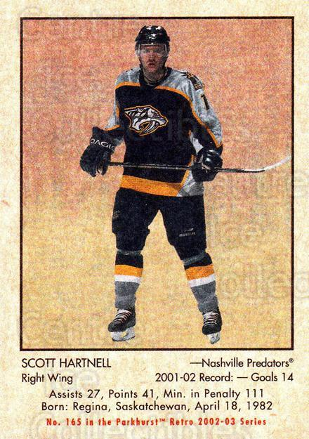 2002-03 Parkhurst Retro #165 Scott Hartnell<br/>5 In Stock - $1.00 each - <a href=https://centericecollectibles.foxycart.com/cart?name=2002-03%20Parkhurst%20Retro%20%23165%20Scott%20Hartnell...&quantity_max=5&price=$1.00&code=105631 class=foxycart> Buy it now! </a>