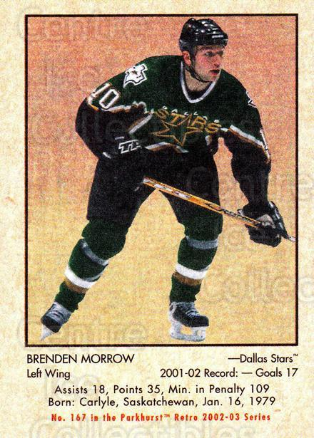 2002-03 Parkhurst Retro #167 Brenden Morrow<br/>5 In Stock - $1.00 each - <a href=https://centericecollectibles.foxycart.com/cart?name=2002-03%20Parkhurst%20Retro%20%23167%20Brenden%20Morrow...&quantity_max=5&price=$1.00&code=105633 class=foxycart> Buy it now! </a>