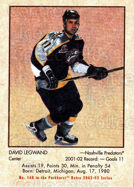 2002-03 Parkhurst Retro #168 David Legwand<br/>5 In Stock - $1.00 each - <a href=https://centericecollectibles.foxycart.com/cart?name=2002-03%20Parkhurst%20Retro%20%23168%20David%20Legwand...&quantity_max=5&price=$1.00&code=105634 class=foxycart> Buy it now! </a>