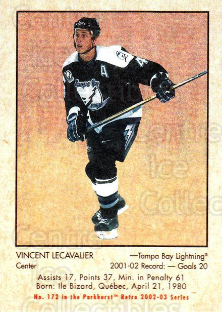 2002-03 Parkhurst Retro #172 Vincent Lecavalier<br/>4 In Stock - $1.00 each - <a href=https://centericecollectibles.foxycart.com/cart?name=2002-03%20Parkhurst%20Retro%20%23172%20Vincent%20Lecaval...&quantity_max=4&price=$1.00&code=105638 class=foxycart> Buy it now! </a>
