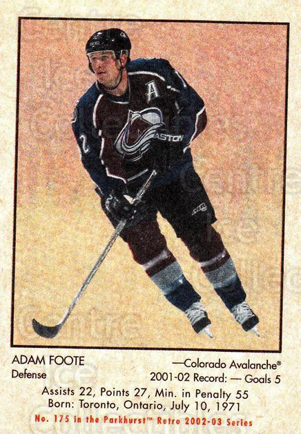 2002-03 Parkhurst Retro #175 Adam Foote<br/>4 In Stock - $1.00 each - <a href=https://centericecollectibles.foxycart.com/cart?name=2002-03%20Parkhurst%20Retro%20%23175%20Adam%20Foote...&quantity_max=4&price=$1.00&code=105641 class=foxycart> Buy it now! </a>