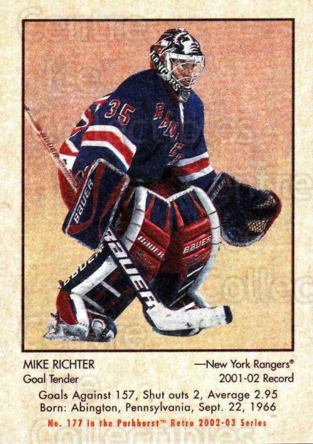 2002-03 Parkhurst Retro #177 Mike Richter<br/>3 In Stock - $1.00 each - <a href=https://centericecollectibles.foxycart.com/cart?name=2002-03%20Parkhurst%20Retro%20%23177%20Mike%20Richter...&quantity_max=3&price=$1.00&code=105643 class=foxycart> Buy it now! </a>