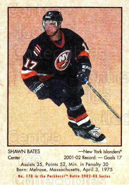 2002-03 Parkhurst Retro #178 Shawn Bates<br/>5 In Stock - $1.00 each - <a href=https://centericecollectibles.foxycart.com/cart?name=2002-03%20Parkhurst%20Retro%20%23178%20Shawn%20Bates...&quantity_max=5&price=$1.00&code=105644 class=foxycart> Buy it now! </a>