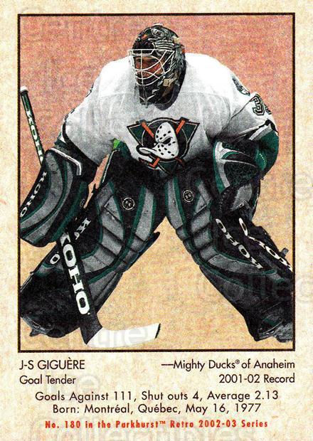 2002-03 Parkhurst Retro #180 Jean-Sebastien Giguere<br/>4 In Stock - $1.00 each - <a href=https://centericecollectibles.foxycart.com/cart?name=2002-03%20Parkhurst%20Retro%20%23180%20Jean-Sebastien%20...&quantity_max=4&price=$1.00&code=105647 class=foxycart> Buy it now! </a>