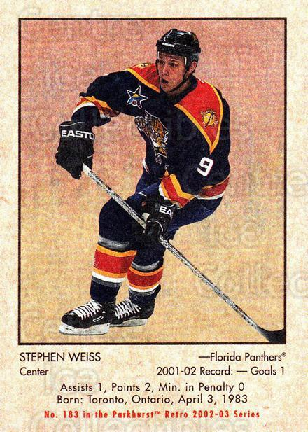 2002-03 Parkhurst Retro #183 Stephen Weiss<br/>4 In Stock - $1.00 each - <a href=https://centericecollectibles.foxycart.com/cart?name=2002-03%20Parkhurst%20Retro%20%23183%20Stephen%20Weiss...&quantity_max=4&price=$1.00&code=105650 class=foxycart> Buy it now! </a>