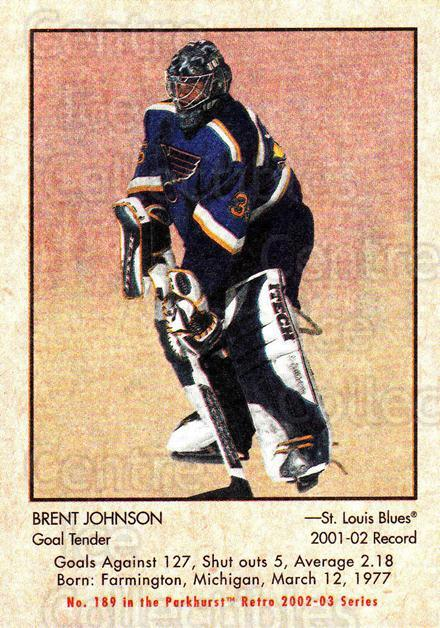 2002-03 Parkhurst Retro #189 Brent Johnson<br/>5 In Stock - $1.00 each - <a href=https://centericecollectibles.foxycart.com/cart?name=2002-03%20Parkhurst%20Retro%20%23189%20Brent%20Johnson...&quantity_max=5&price=$1.00&code=105656 class=foxycart> Buy it now! </a>