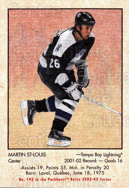 2002-03 Parkhurst Retro #193 Martin St. Louis<br/>5 In Stock - $1.00 each - <a href=https://centericecollectibles.foxycart.com/cart?name=2002-03%20Parkhurst%20Retro%20%23193%20Martin%20St.%20Loui...&quantity_max=5&price=$1.00&code=105661 class=foxycart> Buy it now! </a>