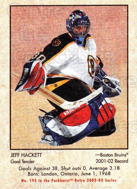 2002-03 Parkhurst Retro #195 Jeff Hackett<br/>5 In Stock - $1.00 each - <a href=https://centericecollectibles.foxycart.com/cart?name=2002-03%20Parkhurst%20Retro%20%23195%20Jeff%20Hackett...&quantity_max=5&price=$1.00&code=105663 class=foxycart> Buy it now! </a>