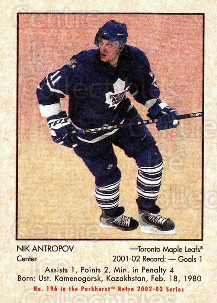 2002-03 Parkhurst Retro #196 Nikolai Antropov<br/>4 In Stock - $1.00 each - <a href=https://centericecollectibles.foxycart.com/cart?name=2002-03%20Parkhurst%20Retro%20%23196%20Nikolai%20Antropo...&quantity_max=4&price=$1.00&code=105664 class=foxycart> Buy it now! </a>
