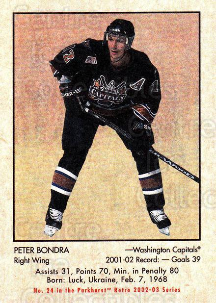 2002-03 Parkhurst Retro #24 Peter Bondra<br/>4 In Stock - $1.00 each - <a href=https://centericecollectibles.foxycart.com/cart?name=2002-03%20Parkhurst%20Retro%20%2324%20Peter%20Bondra...&quantity_max=4&price=$1.00&code=105678 class=foxycart> Buy it now! </a>