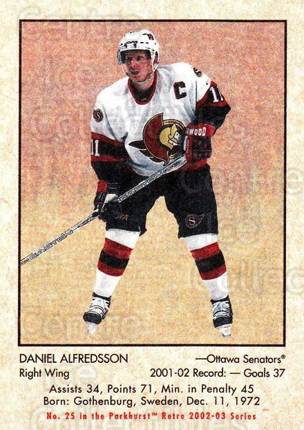 2002-03 Parkhurst Retro #25 Daniel Alfredsson<br/>7 In Stock - $1.00 each - <a href=https://centericecollectibles.foxycart.com/cart?name=2002-03%20Parkhurst%20Retro%20%2325%20Daniel%20Alfredss...&quantity_max=7&price=$1.00&code=105680 class=foxycart> Buy it now! </a>