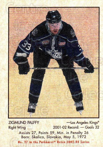 2002-03 Parkhurst Retro #27 Zigmund Palffy<br/>10 In Stock - $1.00 each - <a href=https://centericecollectibles.foxycart.com/cart?name=2002-03%20Parkhurst%20Retro%20%2327%20Zigmund%20Palffy...&quantity_max=10&price=$1.00&code=105683 class=foxycart> Buy it now! </a>