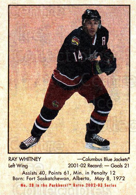 2002-03 Parkhurst Retro #28 Ray Whitney<br/>4 In Stock - $1.00 each - <a href=https://centericecollectibles.foxycart.com/cart?name=2002-03%20Parkhurst%20Retro%20%2328%20Ray%20Whitney...&quantity_max=4&price=$1.00&code=105684 class=foxycart> Buy it now! </a>