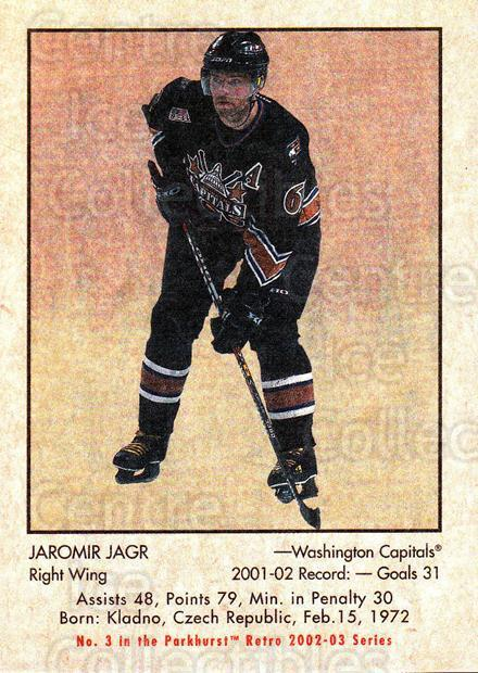 2002-03 Parkhurst Retro #3 Jaromir Jagr<br/>4 In Stock - $2.00 each - <a href=https://centericecollectibles.foxycart.com/cart?name=2002-03%20Parkhurst%20Retro%20%233%20Jaromir%20Jagr...&quantity_max=4&price=$2.00&code=105686 class=foxycart> Buy it now! </a>