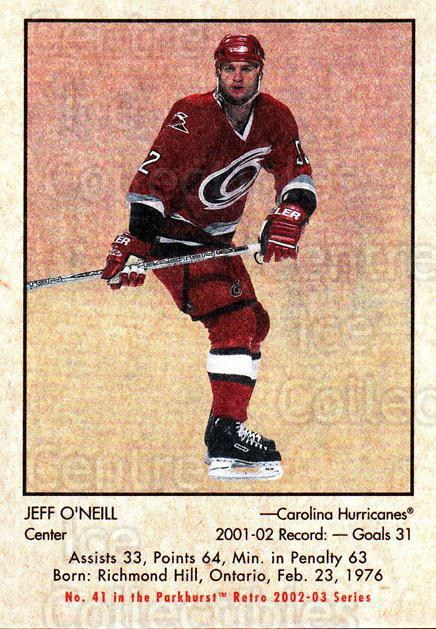 2002-03 Parkhurst Retro #41 Jeff Oneill<br/>5 In Stock - $1.00 each - <a href=https://centericecollectibles.foxycart.com/cart?name=2002-03%20Parkhurst%20Retro%20%2341%20Jeff%20Oneill...&quantity_max=5&price=$1.00&code=105698 class=foxycart> Buy it now! </a>