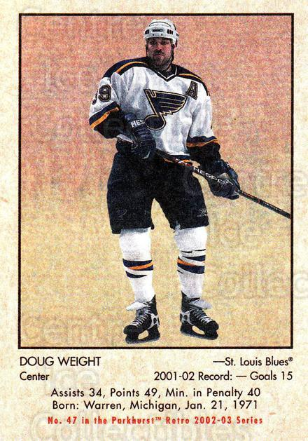 2002-03 Parkhurst Retro #47 Doug Weight<br/>4 In Stock - $1.00 each - <a href=https://centericecollectibles.foxycart.com/cart?name=2002-03%20Parkhurst%20Retro%20%2347%20Doug%20Weight...&quantity_max=4&price=$1.00&code=105703 class=foxycart> Buy it now! </a>