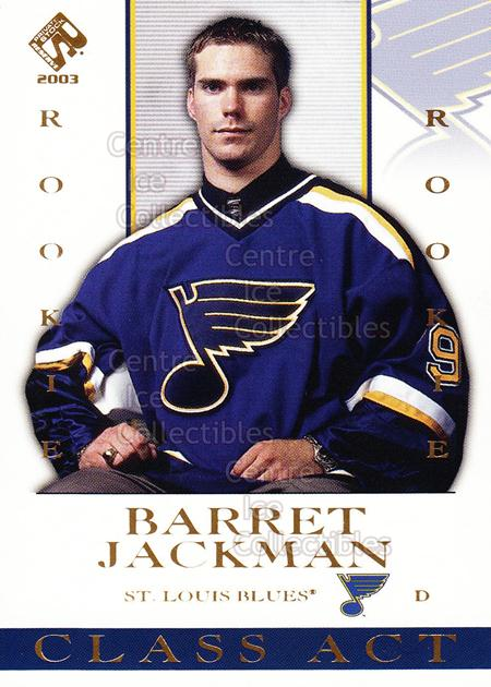 2002-03 Private Stock Class Act #10 Barret Jackman<br/>3 In Stock - $2.00 each - <a href=https://centericecollectibles.foxycart.com/cart?name=2002-03%20Private%20Stock%20Class%20Act%20%2310%20Barret%20Jackman...&quantity_max=3&price=$2.00&code=105912 class=foxycart> Buy it now! </a>