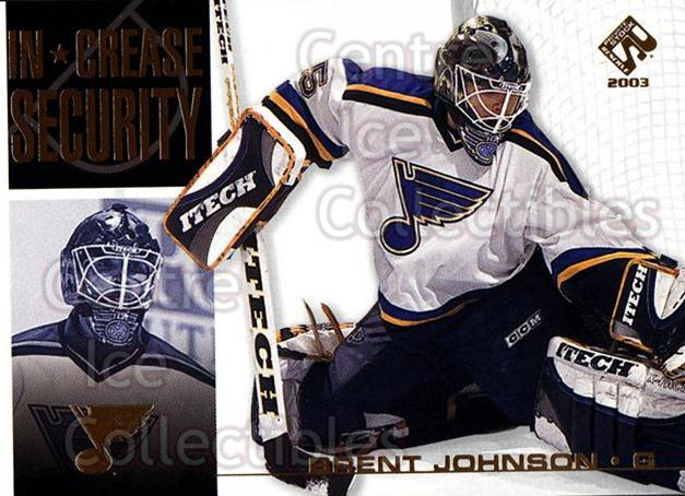 2002-03 Private Stock In Crease Security #18 Brent Johnson<br/>14 In Stock - $2.00 each - <a href=https://centericecollectibles.foxycart.com/cart?name=2002-03%20Private%20Stock%20In%20Crease%20Security%20%2318%20Brent%20Johnson...&quantity_max=14&price=$2.00&code=105923 class=foxycart> Buy it now! </a>