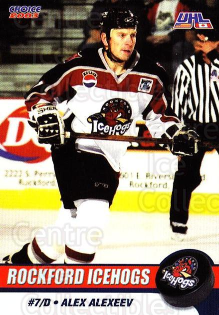 2002-03 Rockford Ice Hogs #5 Alexander Alexeev<br/>6 In Stock - $3.00 each - <a href=https://centericecollectibles.foxycart.com/cart?name=2002-03%20Rockford%20Ice%20Hogs%20%235%20Alexander%20Alexe...&quantity_max=6&price=$3.00&code=106198 class=foxycart> Buy it now! </a>