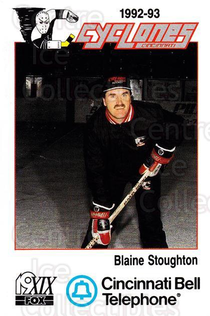 1992-93 Cincinnati Cyclones #25 Blaine Stoughton<br/>1 In Stock - $3.00 each - <a href=https://centericecollectibles.foxycart.com/cart?name=1992-93%20Cincinnati%20Cyclones%20%2325%20Blaine%20Stoughto...&quantity_max=1&price=$3.00&code=10634 class=foxycart> Buy it now! </a>