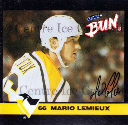 1992-93 Clark Candy Mario Lemieux #3 Mario Lemieux<br/>2 In Stock - $3.00 each - <a href=https://centericecollectibles.foxycart.com/cart?name=1992-93%20Clark%20Candy%20Mario%20Lemieux%20%233%20Mario%20Lemieux...&price=$3.00&code=10646 class=foxycart> Buy it now! </a>