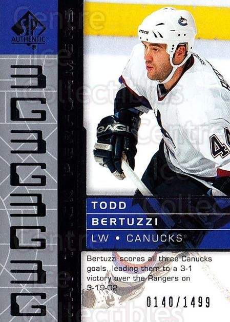 2002-03 SP Authentic #104 Todd Bertuzzi<br/>9 In Stock - $3.00 each - <a href=https://centericecollectibles.foxycart.com/cart?name=2002-03%20SP%20Authentic%20%23104%20Todd%20Bertuzzi...&quantity_max=9&price=$3.00&code=106475 class=foxycart> Buy it now! </a>