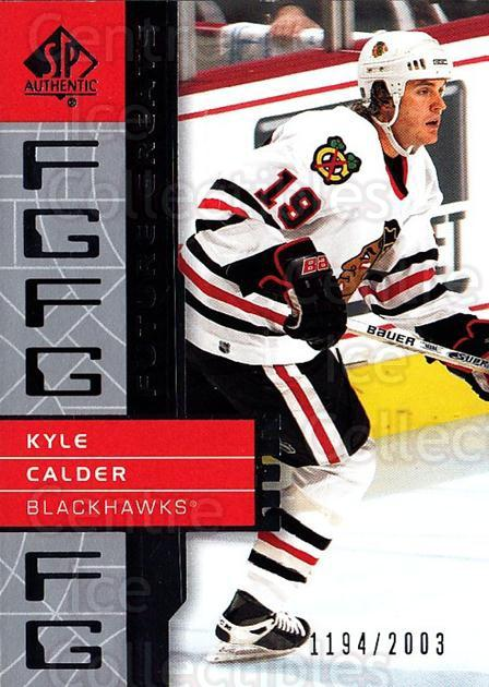2002-03 SP Authentic #112 Kyle Calder<br/>8 In Stock - $2.00 each - <a href=https://centericecollectibles.foxycart.com/cart?name=2002-03%20SP%20Authentic%20%23112%20Kyle%20Calder...&quantity_max=8&price=$2.00&code=106479 class=foxycart> Buy it now! </a>