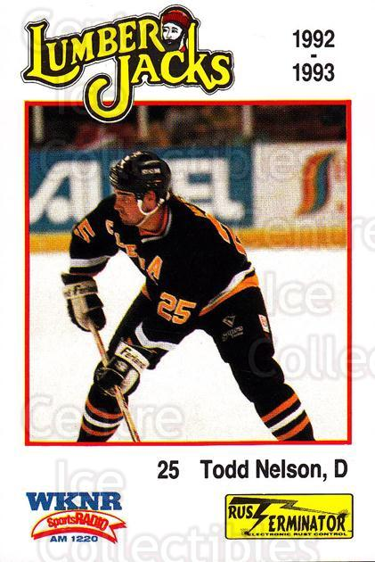 1992-93 Cleveland Lumberjacks #12 Todd Nelson<br/>2 In Stock - $3.00 each - <a href=https://centericecollectibles.foxycart.com/cart?name=1992-93%20Cleveland%20Lumberjacks%20%2312%20Todd%20Nelson...&quantity_max=2&price=$3.00&code=10650 class=foxycart> Buy it now! </a>