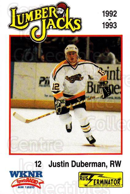 1992-93 Cleveland Lumberjacks #18 Justin Duberman<br/>1 In Stock - $3.00 each - <a href=https://centericecollectibles.foxycart.com/cart?name=1992-93%20Cleveland%20Lumberjacks%20%2318%20Justin%20Duberman...&quantity_max=1&price=$3.00&code=10655 class=foxycart> Buy it now! </a>