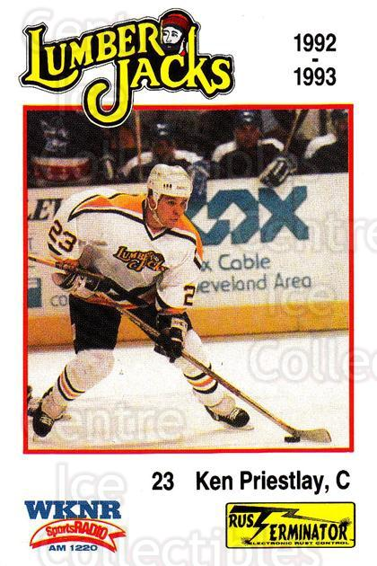 1992-93 Cleveland Lumberjacks #21 Ken Priestlay<br/>1 In Stock - $3.00 each - <a href=https://centericecollectibles.foxycart.com/cart?name=1992-93%20Cleveland%20Lumberjacks%20%2321%20Ken%20Priestlay...&quantity_max=1&price=$3.00&code=10659 class=foxycart> Buy it now! </a>