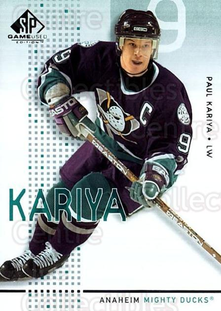 2002-03 SP Game Used #1 Paul Kariya<br/>6 In Stock - $2.00 each - <a href=https://centericecollectibles.foxycart.com/cart?name=2002-03%20SP%20Game%20Used%20%231%20Paul%20Kariya...&quantity_max=6&price=$2.00&code=106606 class=foxycart> Buy it now! </a>