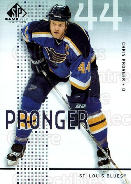 2002-03 SP Game Used #43 Chris Pronger<br/>6 In Stock - $2.00 each - <a href=https://centericecollectibles.foxycart.com/cart?name=2002-03%20SP%20Game%20Used%20%2343%20Chris%20Pronger...&quantity_max=6&price=$2.00&code=106634 class=foxycart> Buy it now! </a>
