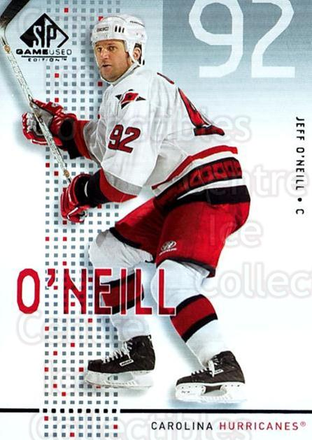 2002-03 SP Game Used #8 Jeff O'Neill<br/>6 In Stock - $2.00 each - <a href=https://centericecollectibles.foxycart.com/cart?name=2002-03%20SP%20Game%20Used%20%238%20Jeff%20O'Neill...&quantity_max=6&price=$2.00&code=106651 class=foxycart> Buy it now! </a>
