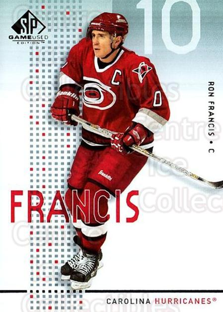2002-03 SP Game Used #9 Ron Francis<br/>9 In Stock - $2.00 each - <a href=https://centericecollectibles.foxycart.com/cart?name=2002-03%20SP%20Game%20Used%20%239%20Ron%20Francis...&quantity_max=9&price=$2.00&code=106656 class=foxycart> Buy it now! </a>