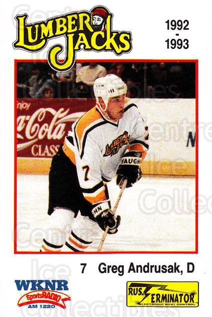 1992-93 Cleveland Lumberjacks #8 Greg Andrusak<br/>2 In Stock - $3.00 each - <a href=https://centericecollectibles.foxycart.com/cart?name=1992-93%20Cleveland%20Lumberjacks%20%238%20Greg%20Andrusak...&quantity_max=2&price=$3.00&code=10668 class=foxycart> Buy it now! </a>