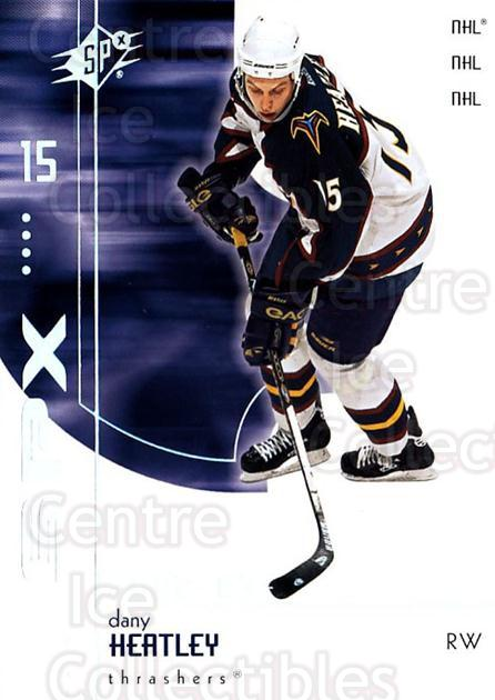 2002-03 SPx #4 Dany Heatley<br/>5 In Stock - $1.00 each - <a href=https://centericecollectibles.foxycart.com/cart?name=2002-03%20SPx%20%234%20Dany%20Heatley...&quantity_max=5&price=$1.00&code=106797 class=foxycart> Buy it now! </a>
